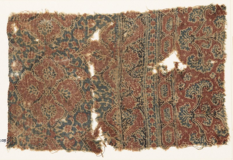Textile fragment with medallions and plants