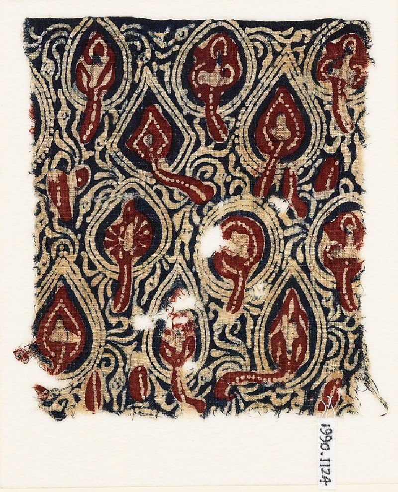 Textile fragment with stylized plants (EA1990.1124, front             )