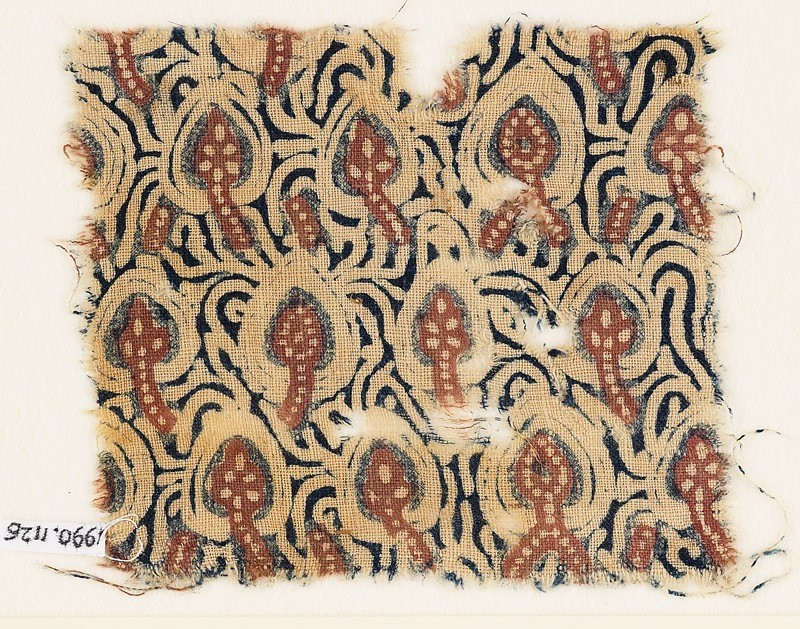 Textile fragment with stylized plants
