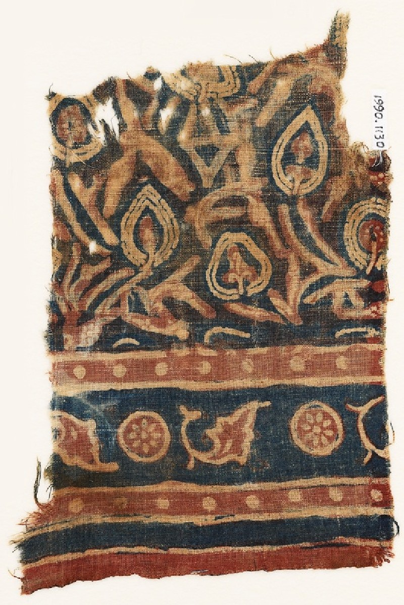Textile fragment with stylized plants (EA1990.1130, front             )