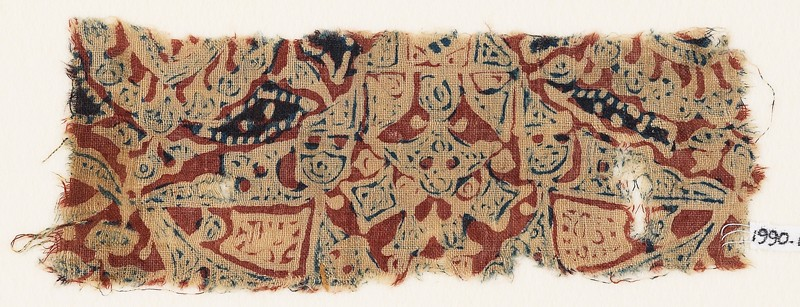 Textile fragment with squares, and possibly medallions and leaves