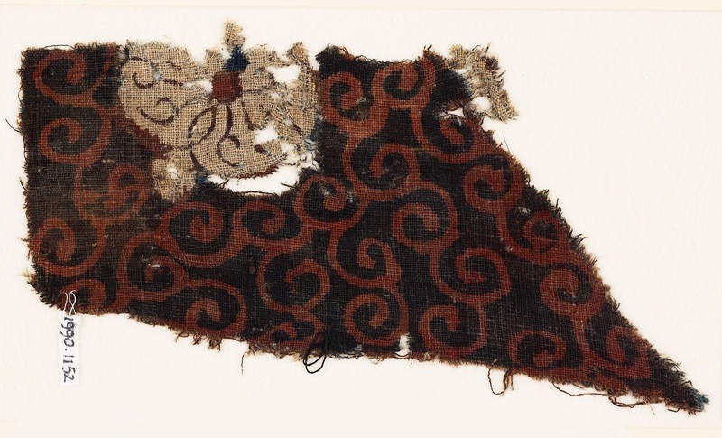 Textile fragment with tendrils and flower (EA1990.1152, front             )