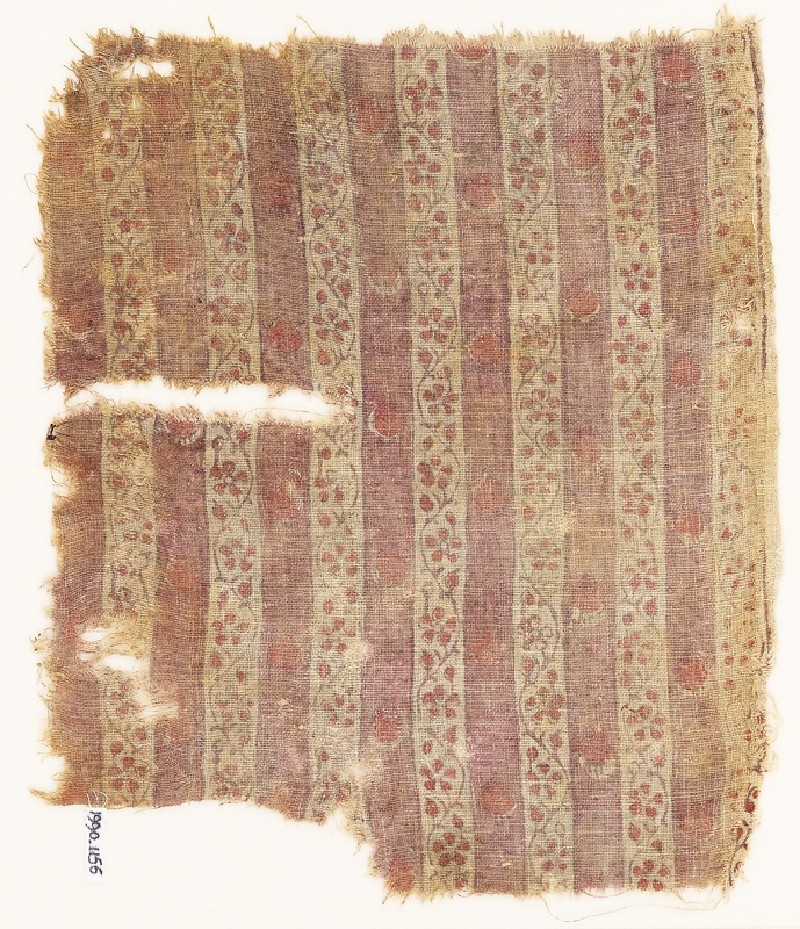 Textile fragment with bands of vines and flowers (front             )