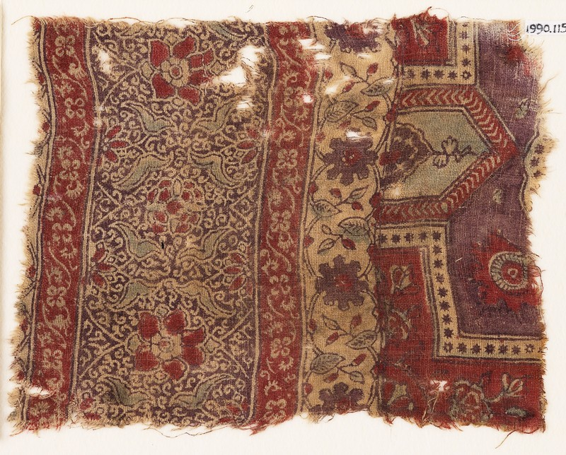 Textile fragment with flowers, leaves, and tendrils