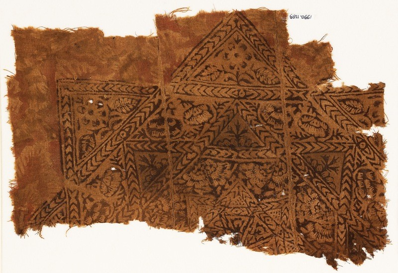 Textile fragment with star, chevrons, and flowers (front             )