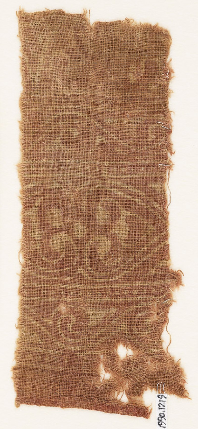 Textile fragment with linked hearts (front             )