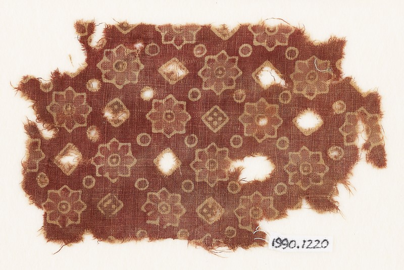 Textile fragment with rosettes, dots, and small squares (front             )