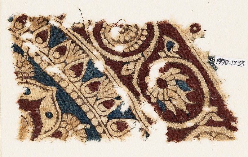 Textile fragment with bands of flower-heads, tendrils, and vines