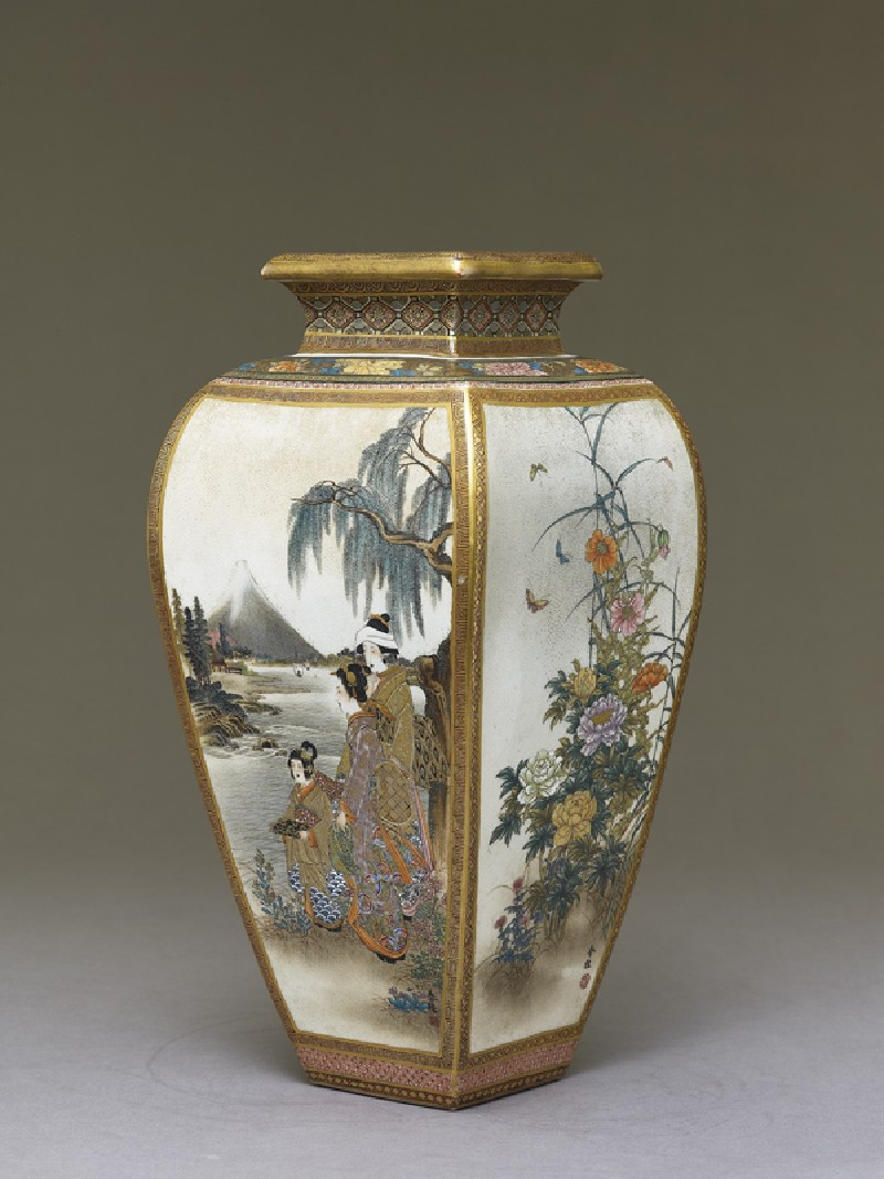 Kyo-Satsuma vase with figures, flowers, and landscape scenes (side             )