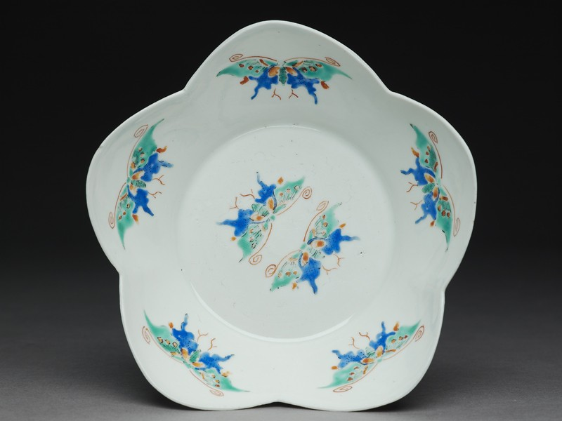 Lobed bowl with butterflies
