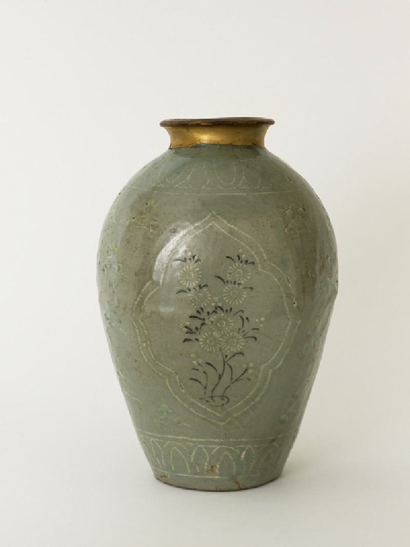Greenware vase with floral decoration (EA1991.119, side            )