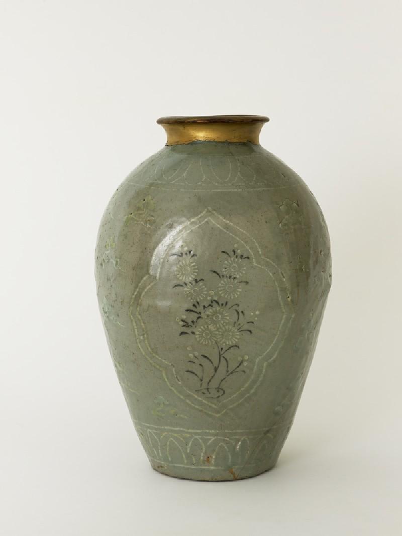 Greenware vase with floral decoration (EA1991.119, side            )