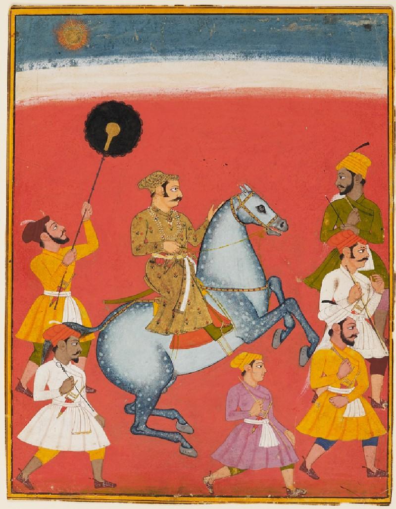 Maharana Raj Singh riding (front            )