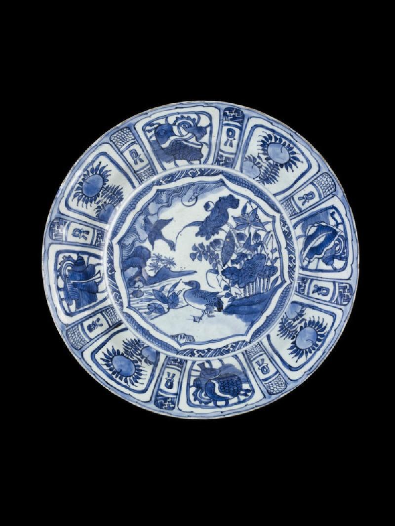 Blue and white foliate dish
