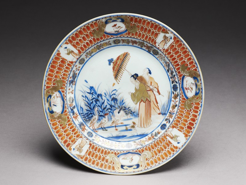 Plate with 'Parasol Lady' design (EA1991.36, top           )