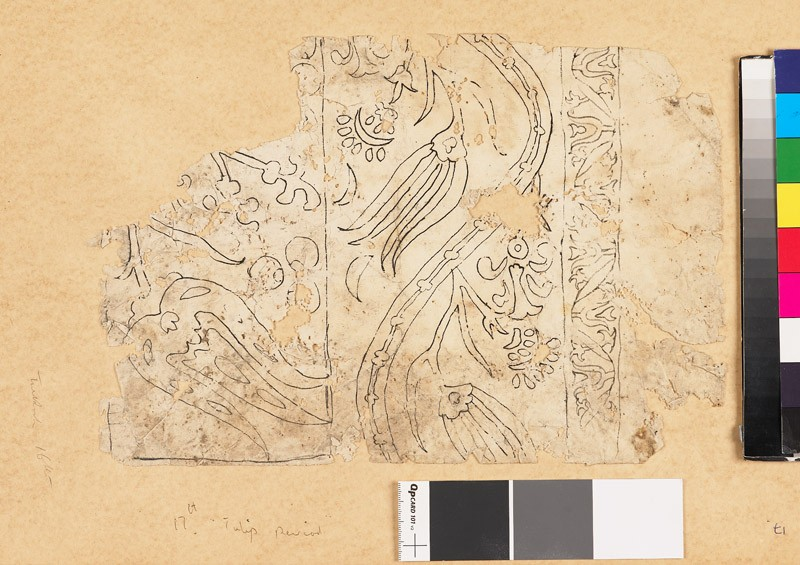 Fragmentary drawing for a tile or textile with floral border of undulating leaf-shapes (front            )