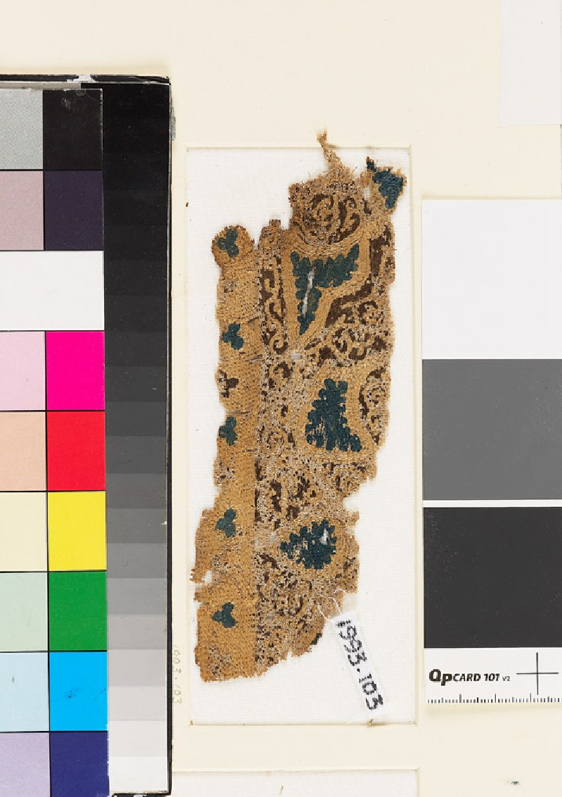 Textile fragment with swirling vegetal pattern and trefoil shapes (EA1993.103, front            )