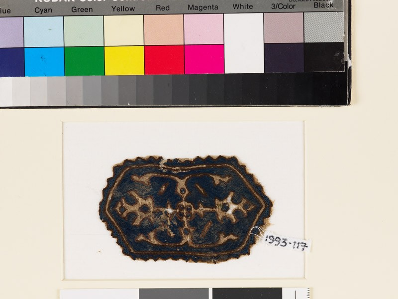 Textile fragment with hexagon, two palmettes, and leaves (EA1993.117, front            )