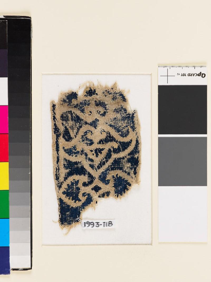 Textile fragment with double-palmette