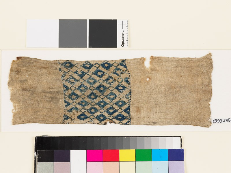 Textile fragment with lattice of diamond-shapes (EA1993.135, front            )