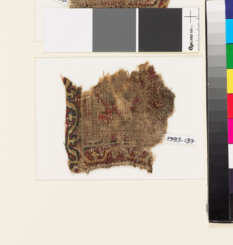 Textile fragment with scrolling stem border, probably from a tab (front            )