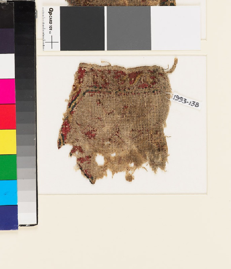 Textile fragment with scrolling stem, probably from a tab (front            )