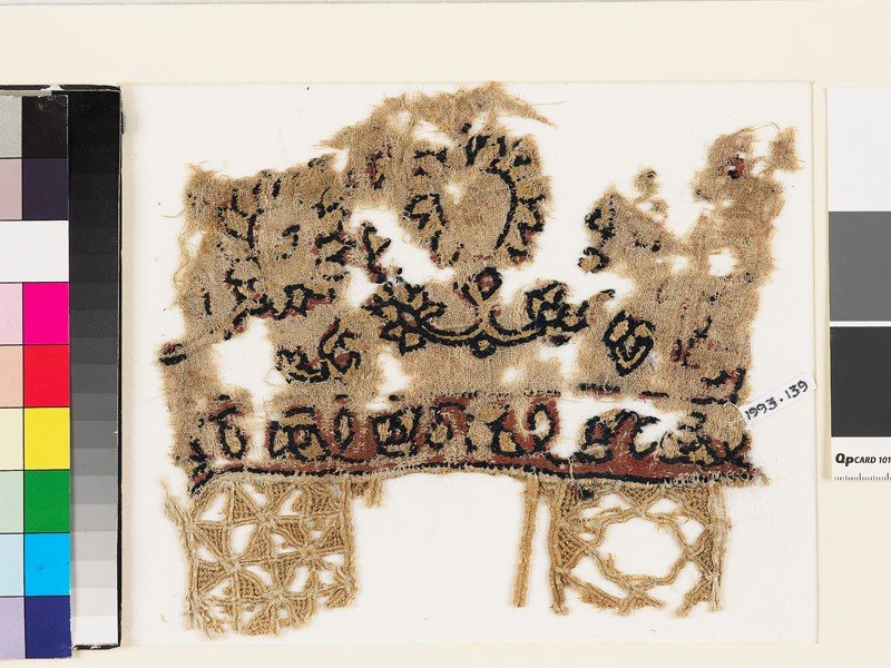 Textile fragment with peonies, leaves, and squares