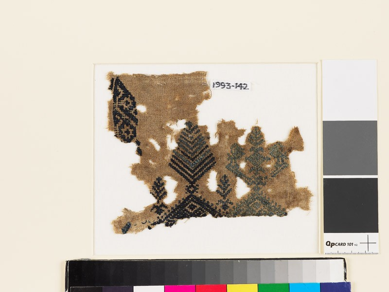 Textile fragment with stylized trees and birds (EA1993.142, front            )