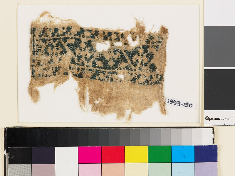 Textile fragment from a belt or scarf with trefoils and leaves