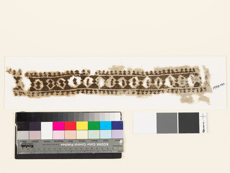 Textile fragment with double diamond-shapes and trefoils (EA1993.161, front            )