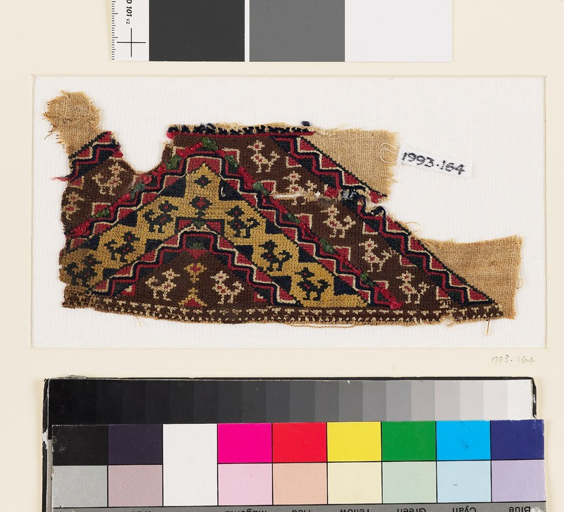 Textile fragment with bands of birds and plants