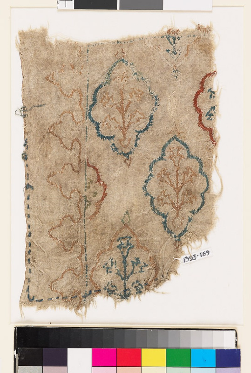 Textile fragment with lobed medallions, plants, and flowers (EA1993.169, front            )