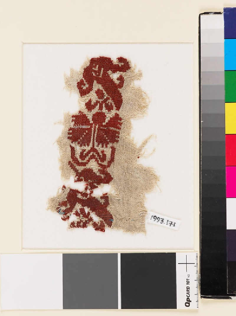Textile fragment with stylized flowers, possibly a carnation and tulip