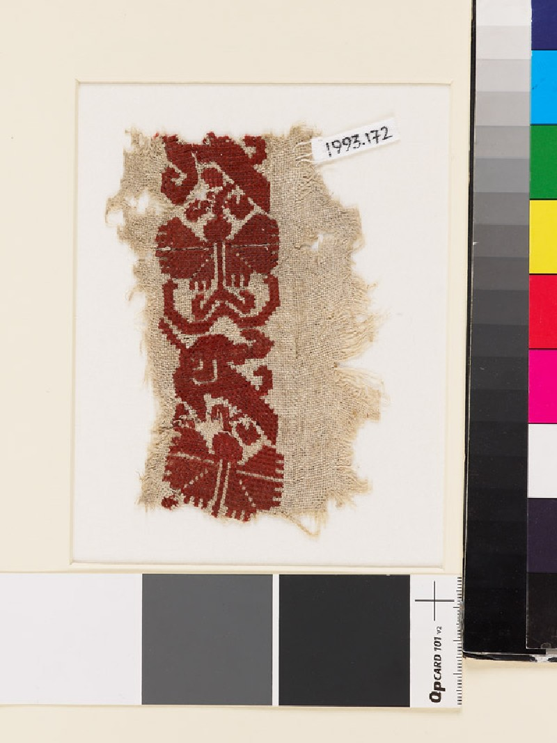 Textile fragment with stylized flowers, possibly a carnation and tulip (EA1993.172, front            )