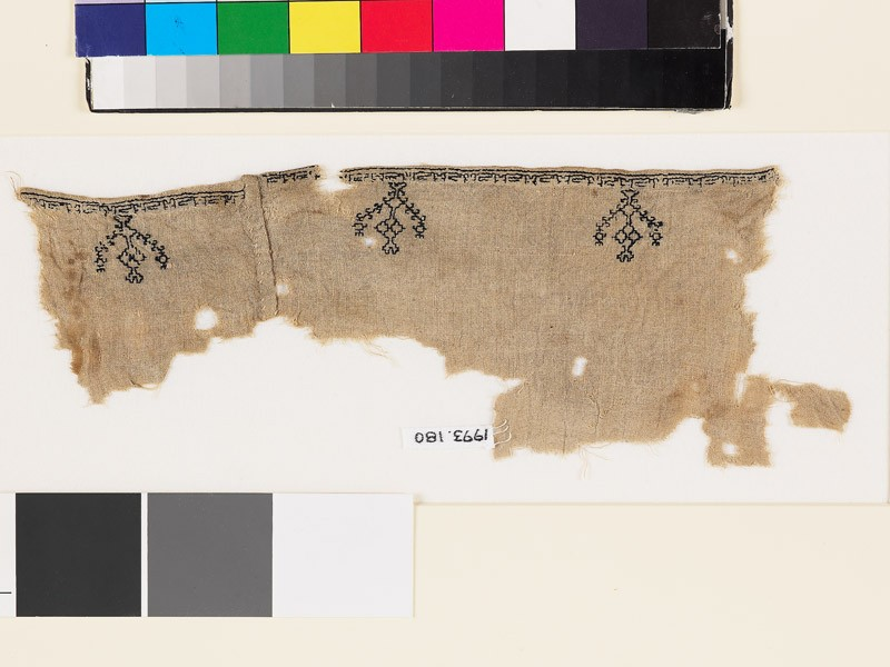 Textile fragment from a garment with stylized birds, trees, and pseudo-kufic inscription (EA1993.180, front            )