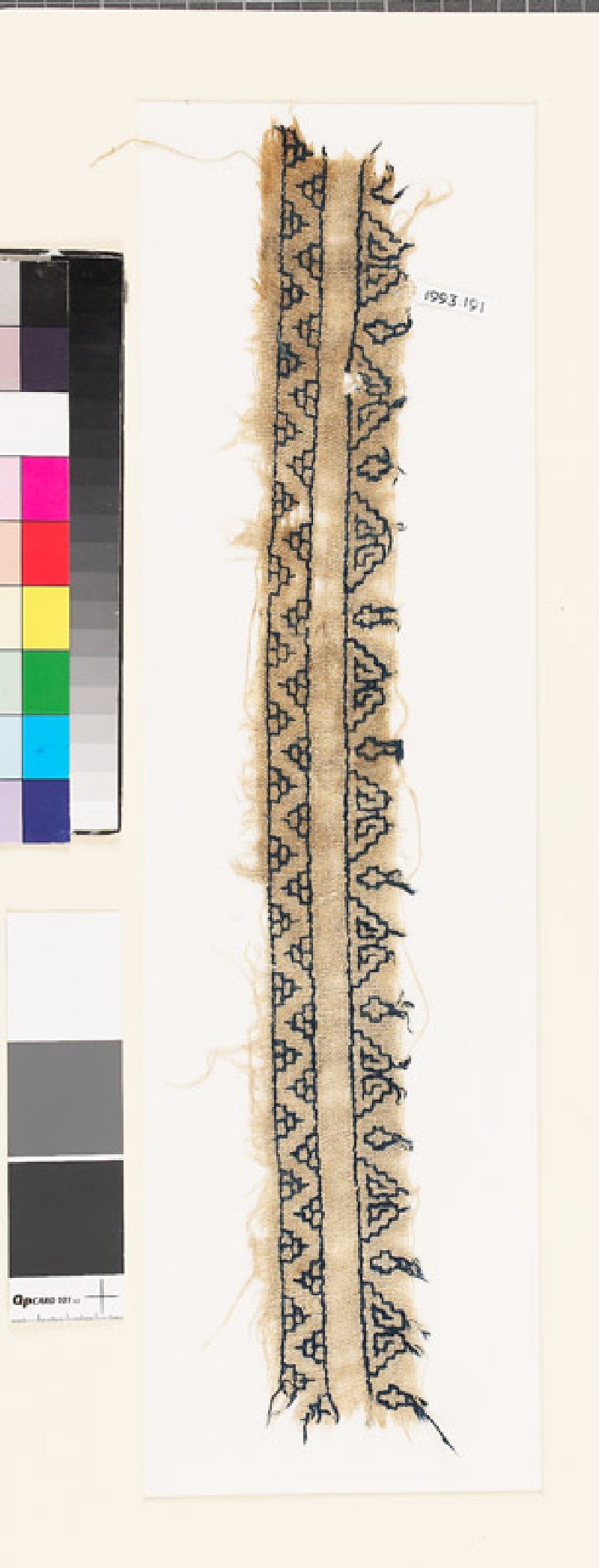Textile fragment with chevrons and triangles
