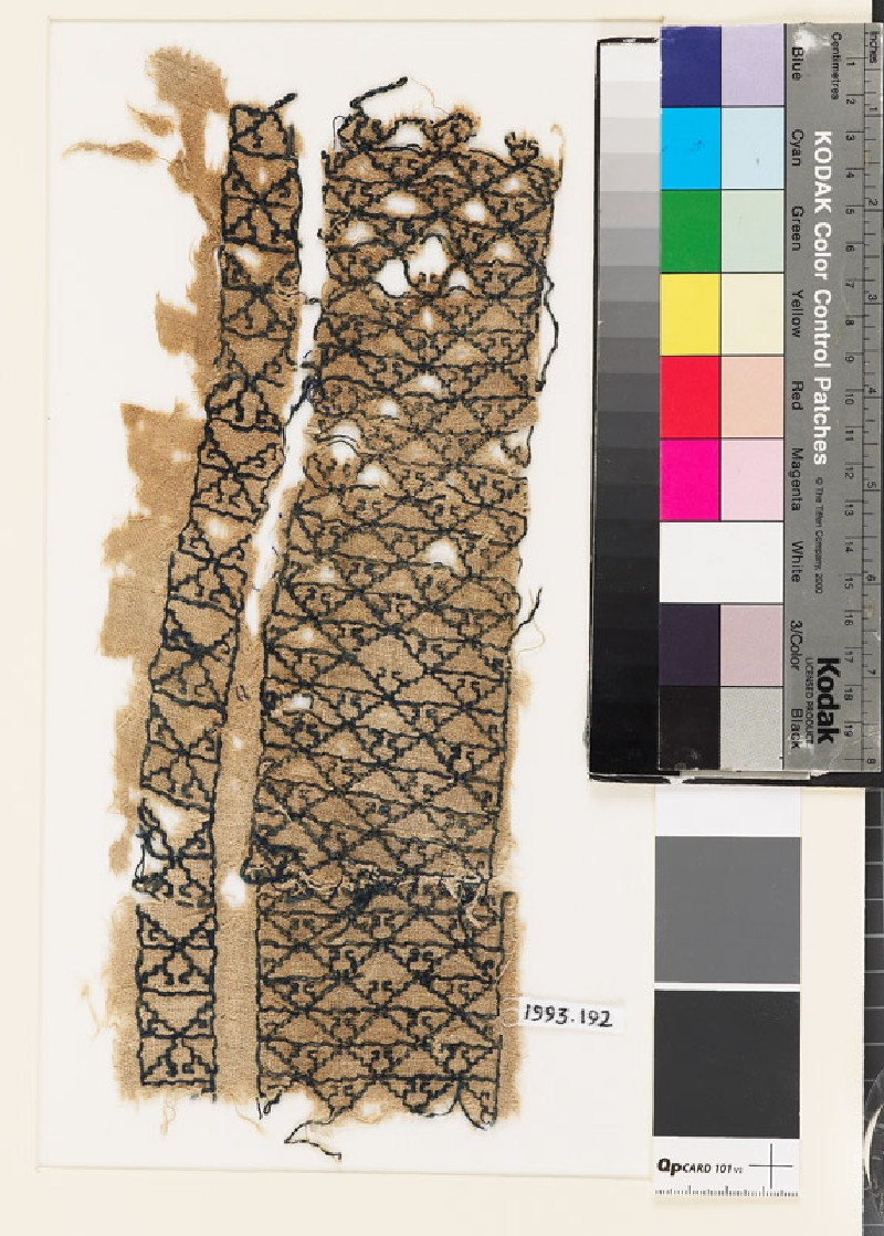 Textile fragment with diamond-shapes and triangles (EA1993.192, front            )