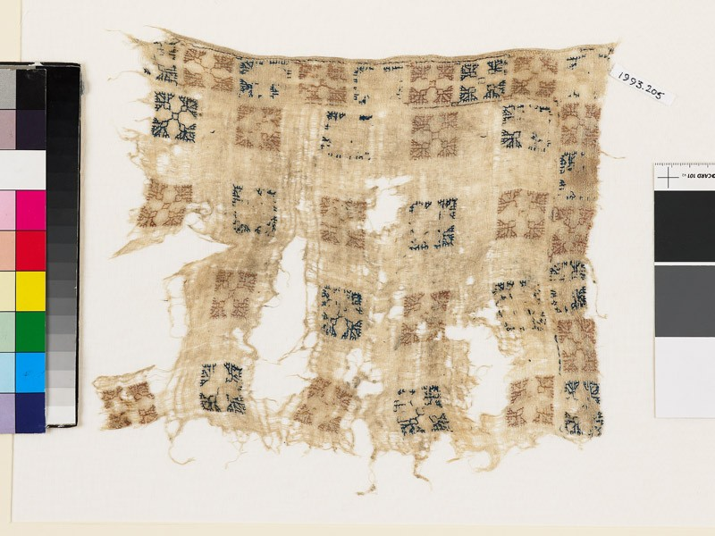 Textile fragment with squares and flower-heads