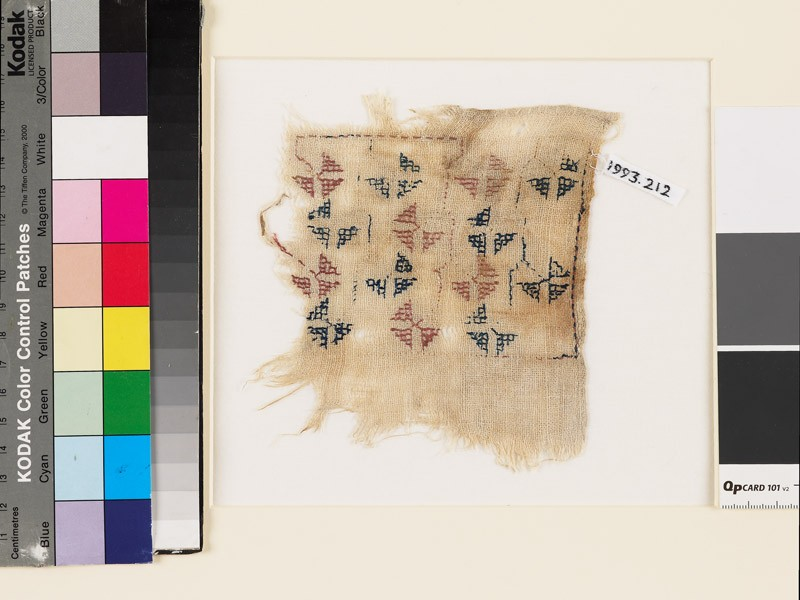 Textile fragment with geometric flowers and stems (EA1993.212, front            )