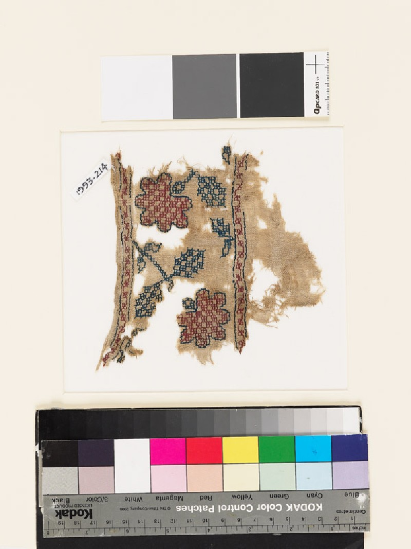 Textile fragment with stylized flowers, leaves, and squares