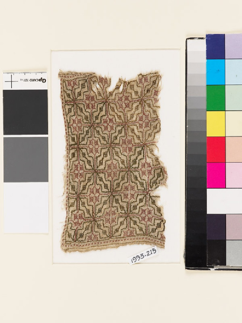 Textile fragment with lattice of diamond-shapes and squares (EA1993.215, front            )