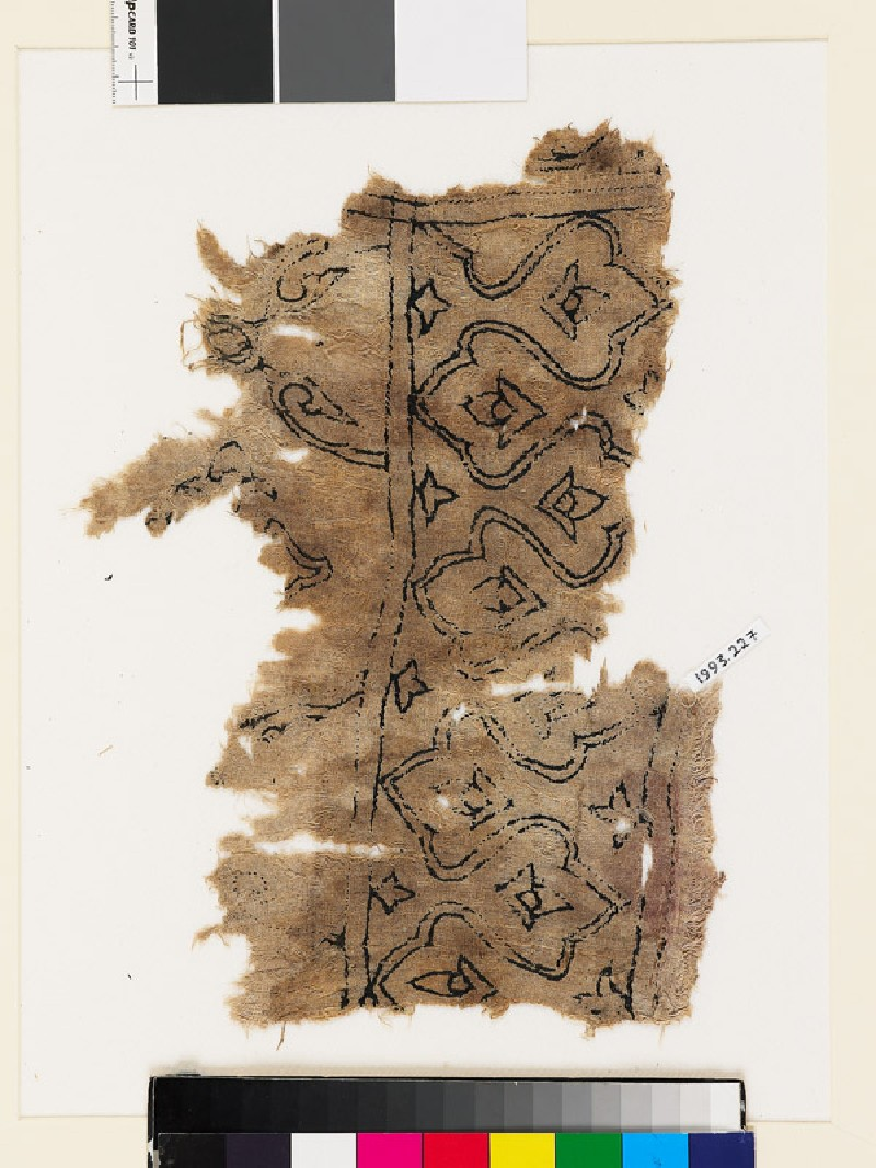 Textile fragment with trefoils, stylized buds, and leaves (EA1993.227, front            )