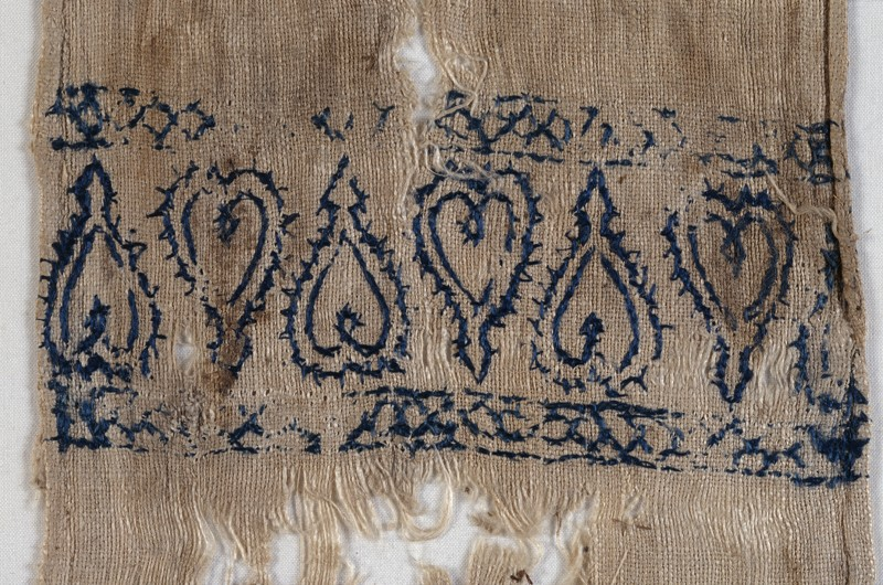 Textile fragment from a scarf or girdle end with hearts (EA1993.229, front            )