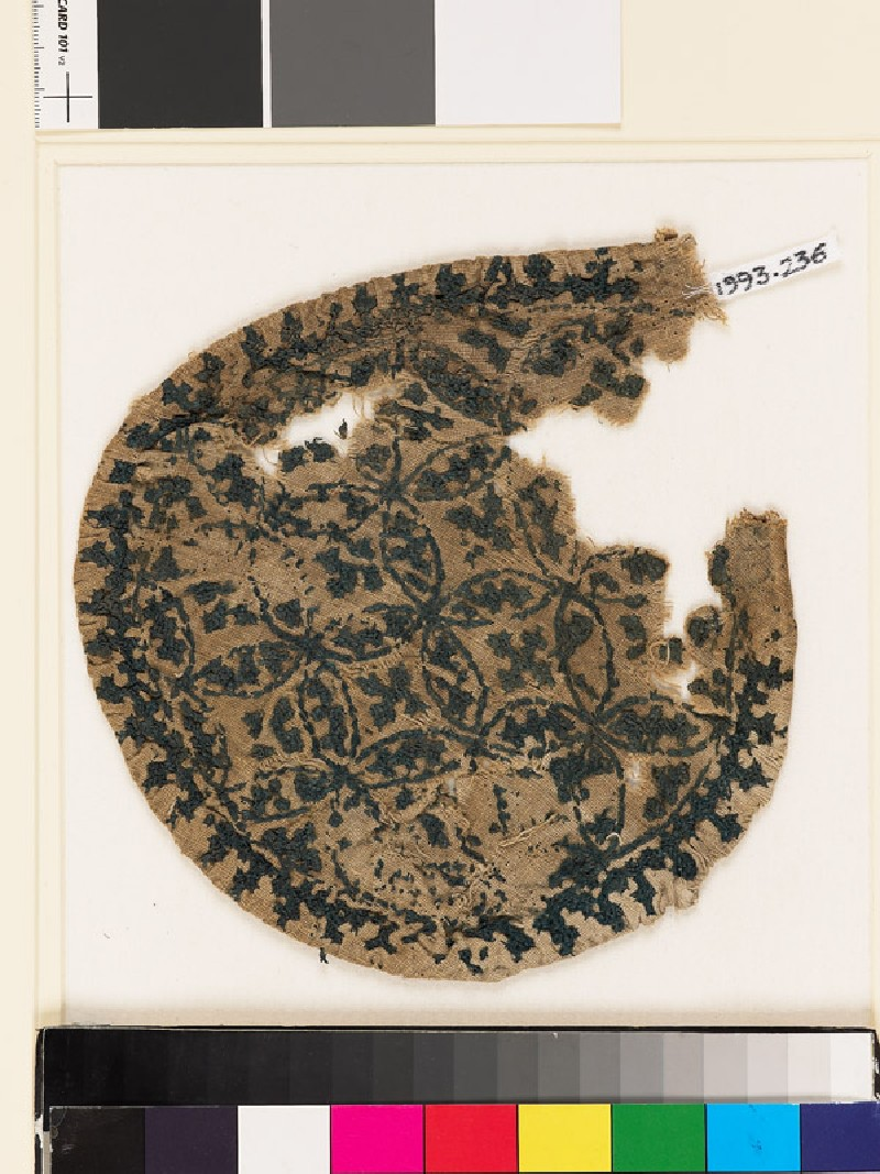 Roundel textile fragment with linked crosses and overlapping circles (EA1993.236, front            )