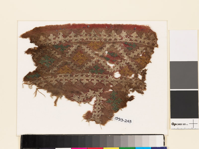 Textile fragment with diamond-shapes and crosses (EA1993.243, front            )