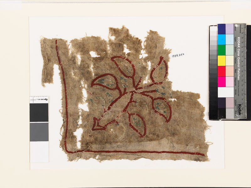 Textile fragment with plant and leaves