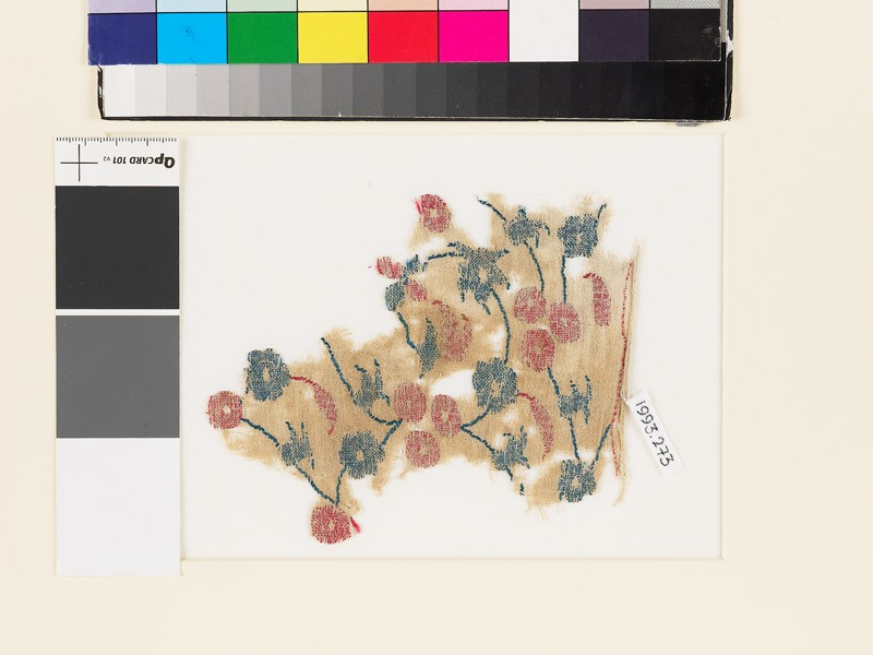 Textile fragment with circular flowers, leaves, and buds
