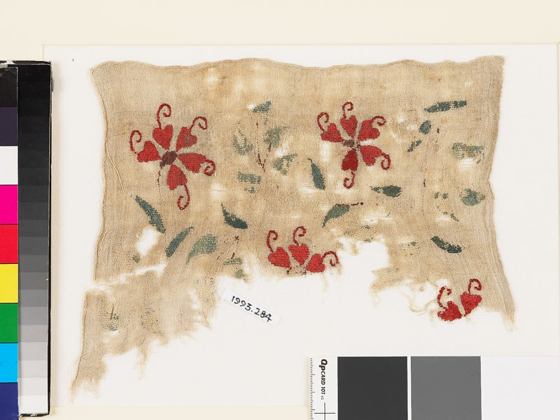 Textile fragment with plants, tendrils, and leaves (EA1993.284, front            )