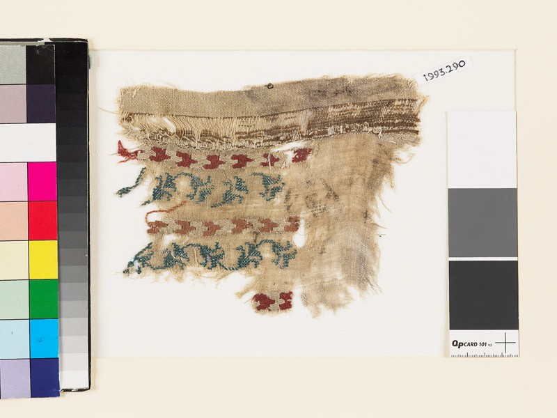 Textile fragment with chevrons and a floral scrolled stem (EA1993.290, front            )