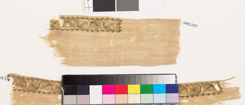 Textile fragment with stylized flower-heads